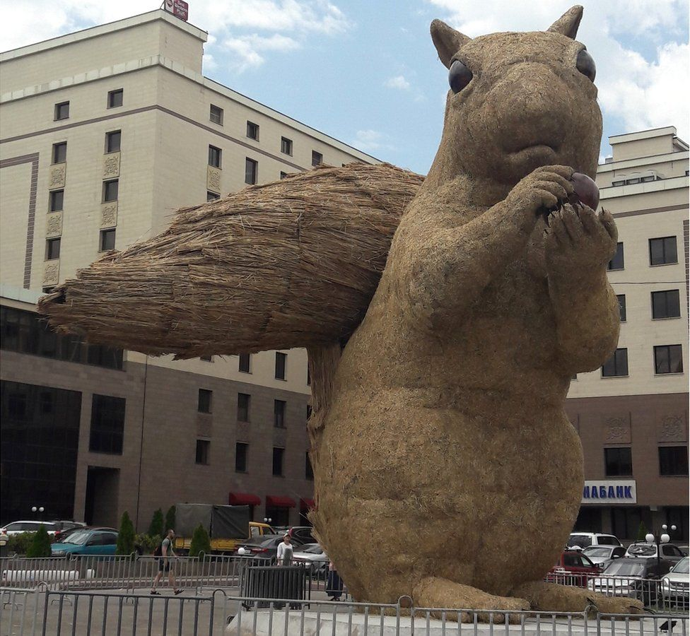 The giant squirrel installation in the city of Almaty, Kazakhstan