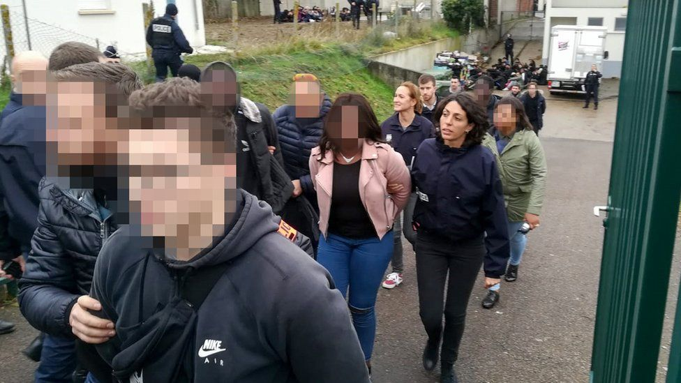 Police arrest students close to the Saint-Exupery high school in Mantes-la-Jolie in the Yvelines, following clashes in which 146 people were arrested on December 6, 2018