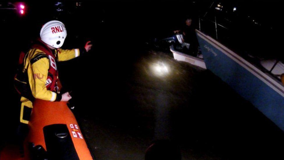 Sinking speedboat