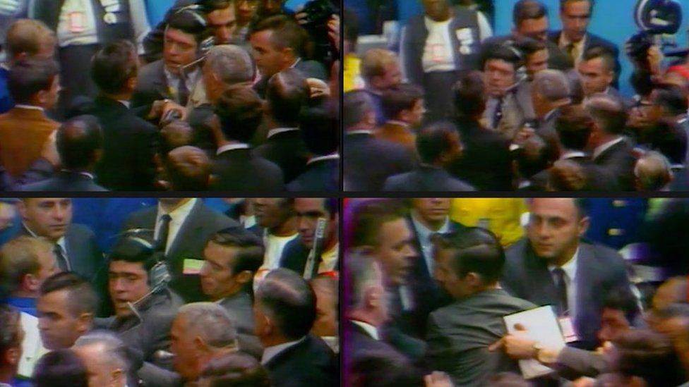 Images of journalist Dan Rather being harassed at the 1968 Democratic National Convention in Chicago.