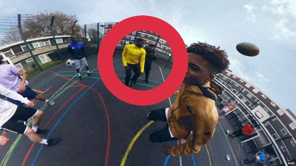 Vlogger Darnz filming a basketball player as part of the Nothing Beats a Londoner advert