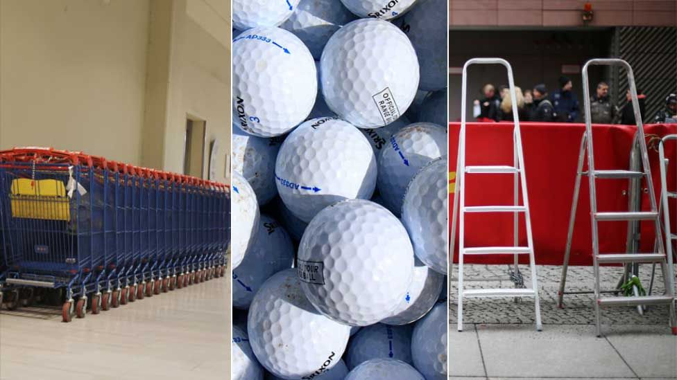 Shopping trolley, golf balls and ladders