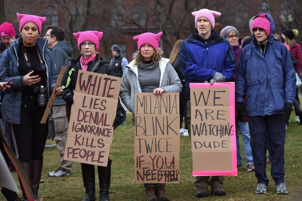 """Protesters in pink """"pussy hats"""" rallied around the world against Trump's election"""
