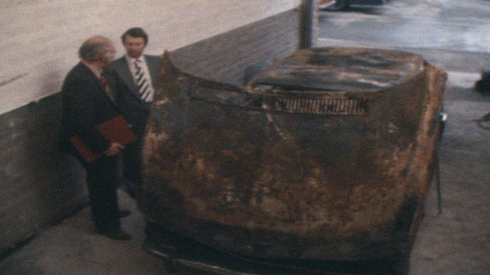 Renee MacRae's burned-out car