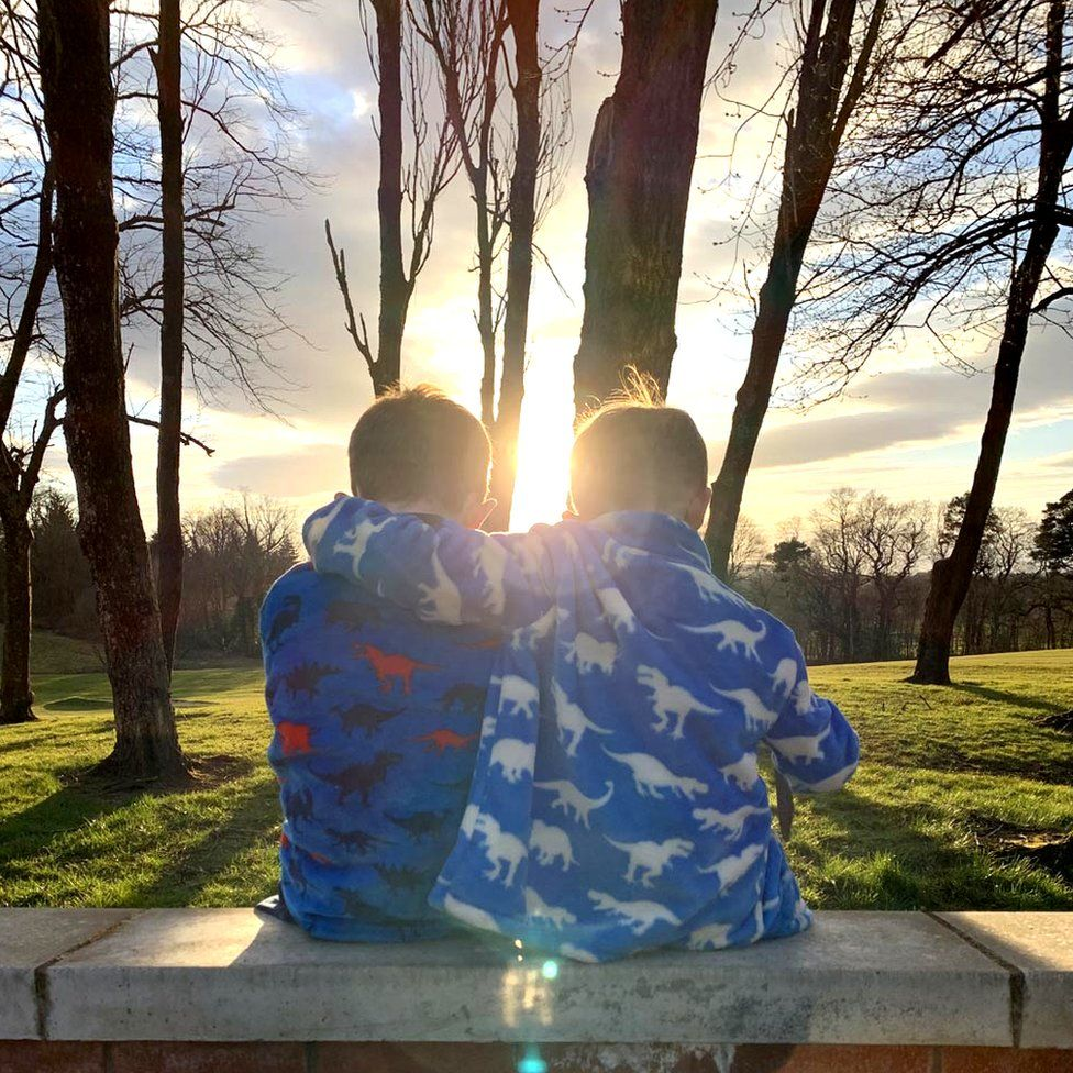 Boys at sunset