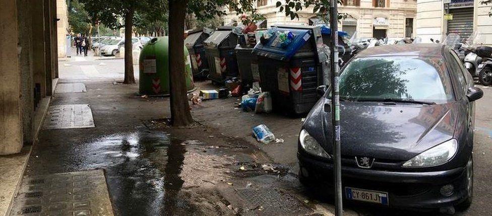 Rubbish in Prati near the Vatican in Rome