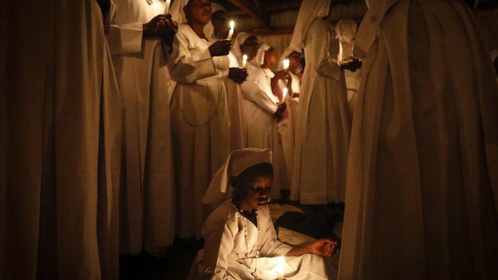 Members of the Legio Maria held a vigil at their church in Nairobi, Kenya.