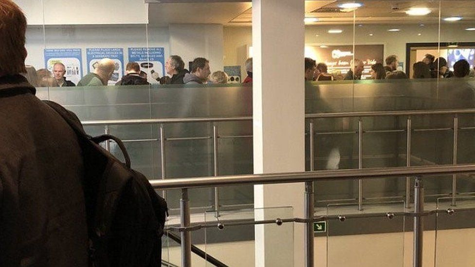 Queues at the Isle of Man Airport