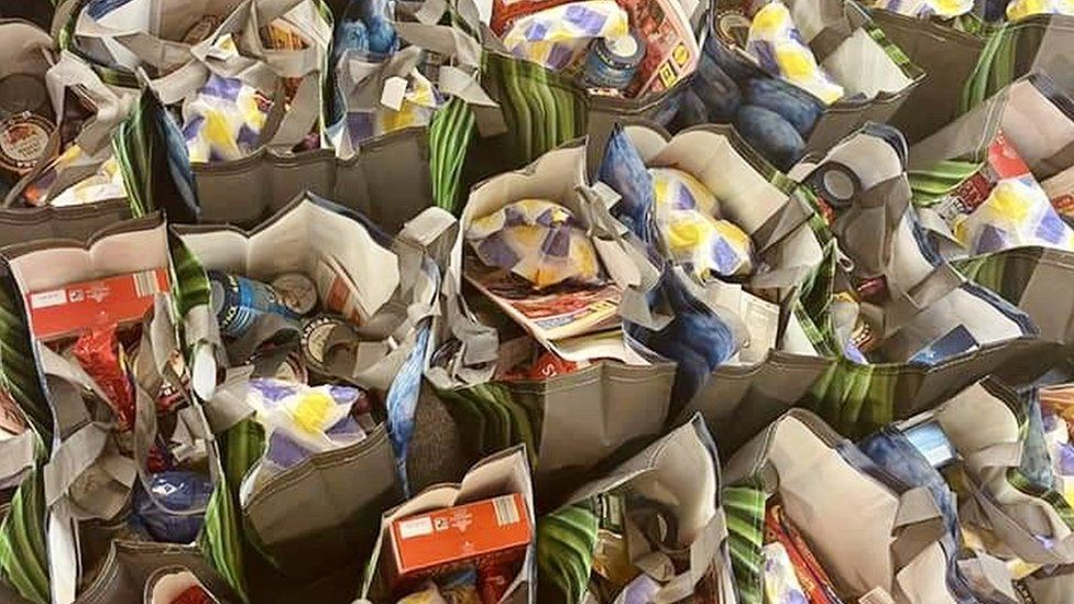 Food hampers in bags
