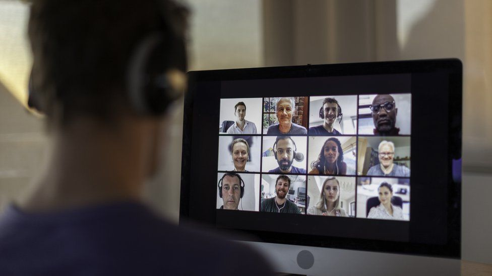 Worker in a zoom meeting
