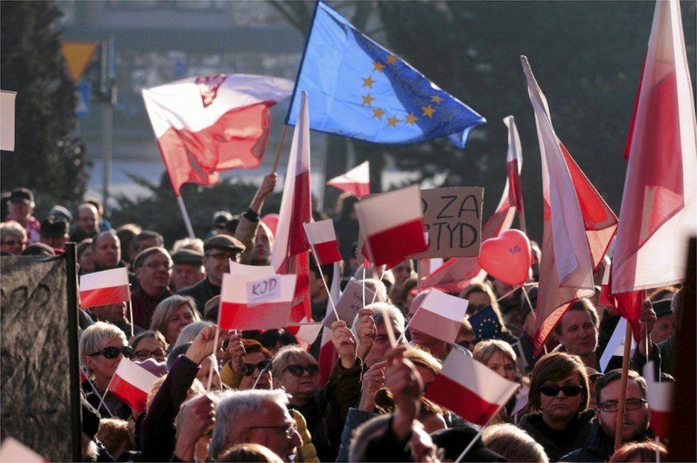 Anti-government protest in Kielce, Poland, 19 December 2015
