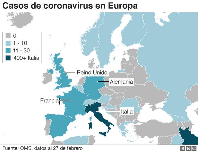 Mapa de casos de coronavirus en Europa.