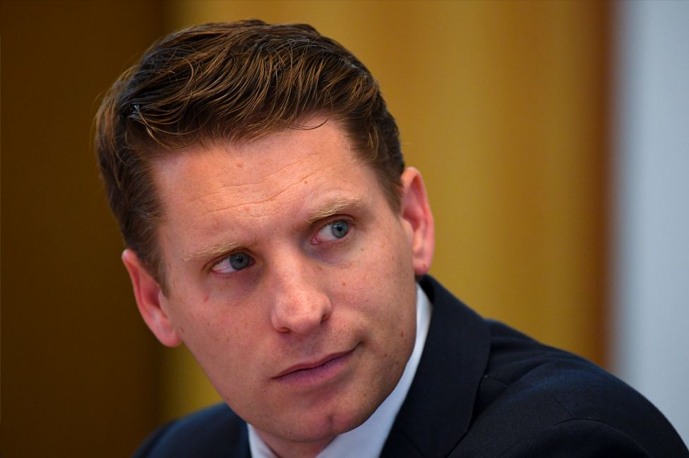 Andrew Hastie reacts during a hearing of the Parliamentary Joint Committee on Intelligence and Security at Parliament House in Canberra, 31 July, 2019.
