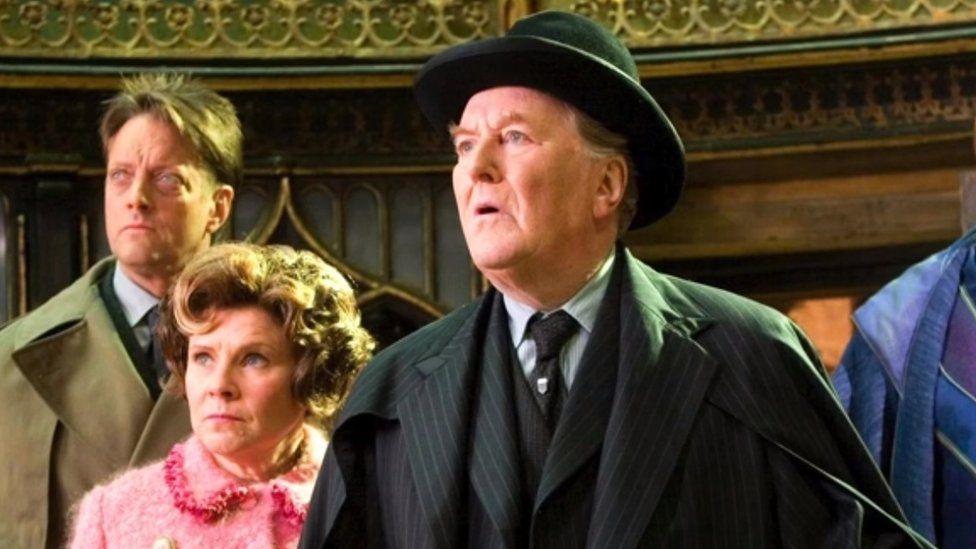 Robert Hardy as Cornelius Fudge in Harry Potter