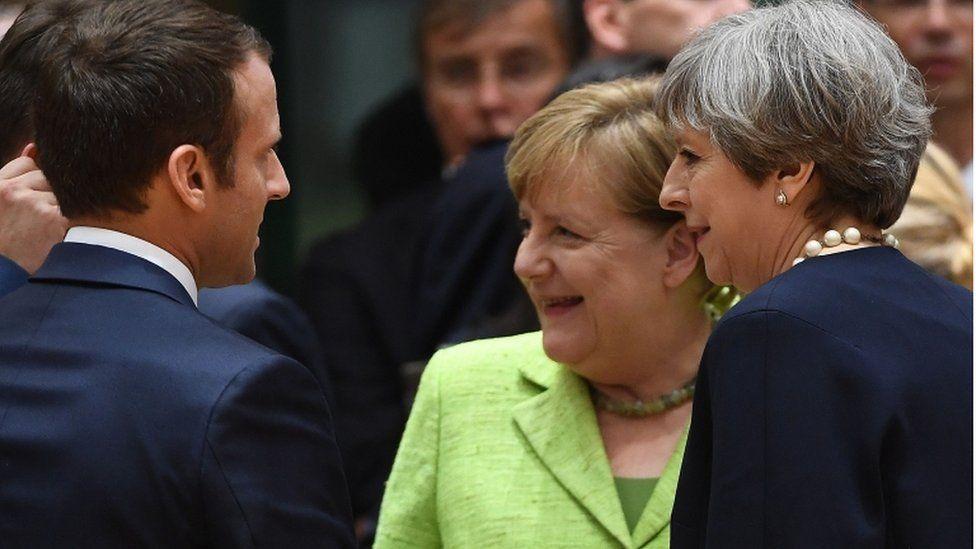 Emmanuel Macron, Theresa May and Angela Merkel at the summit