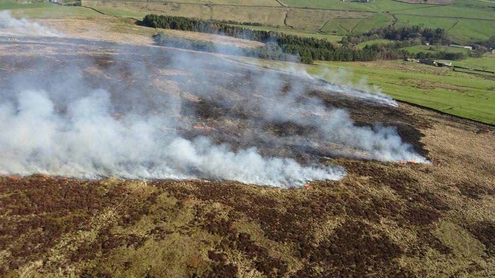 Moorland fire near Blacko