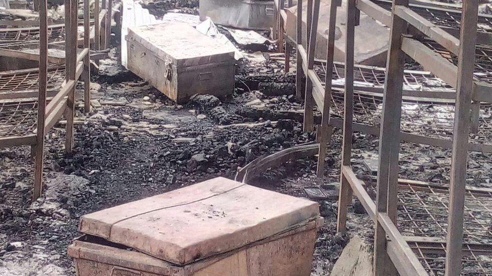 Burnt dormitory