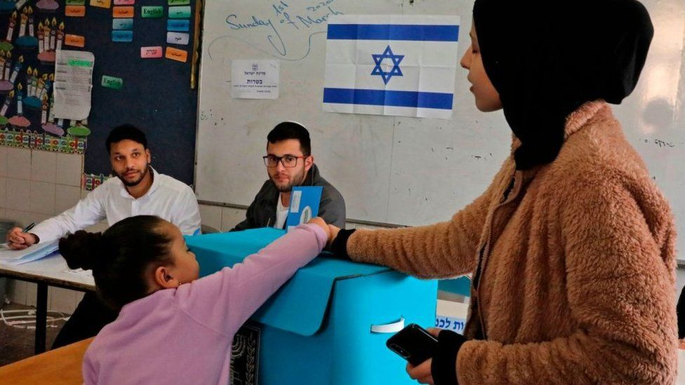 Israeli Arab woman votes in election, 2 March 2020