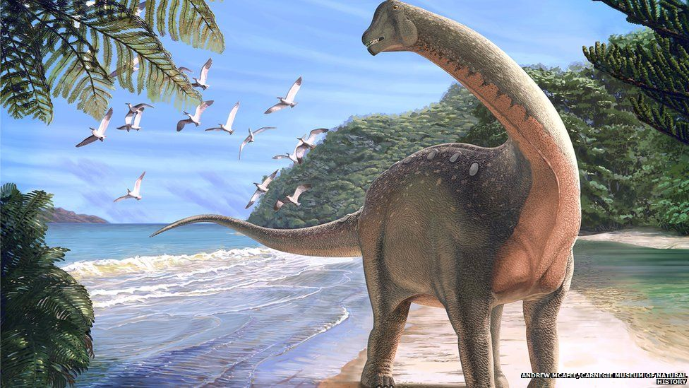 Reconstruction of the new dinosaur on a coastline in what is now the Western Desert of Egypt