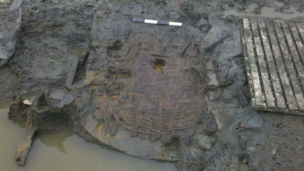 Waterlogged Roman basket remains