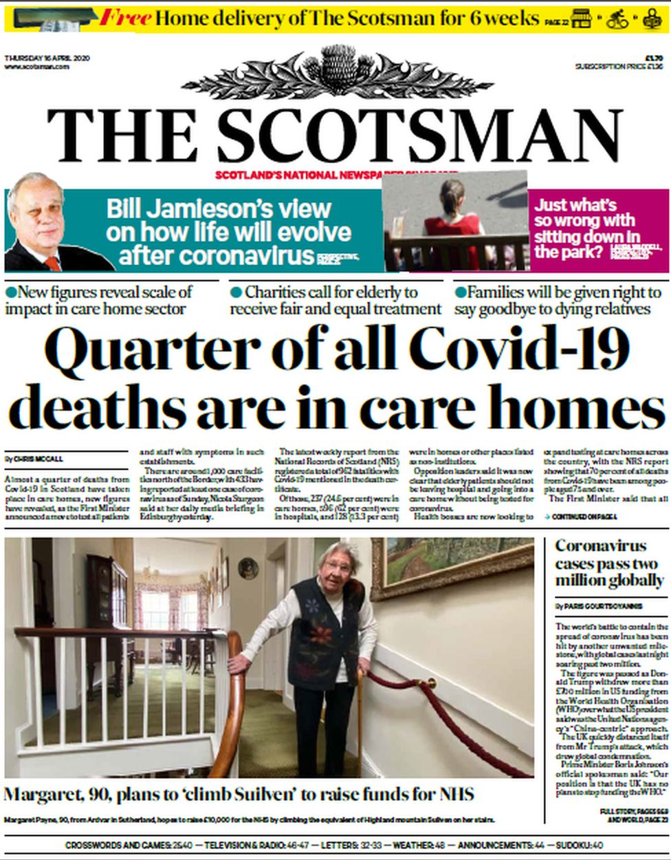 Scotsman front page