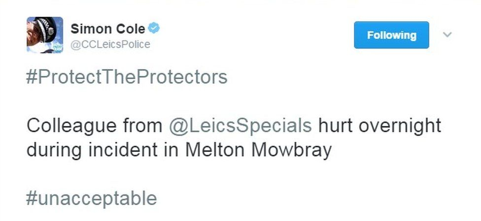 Leicestershire Police Chief Constable Simon Cole's tweet