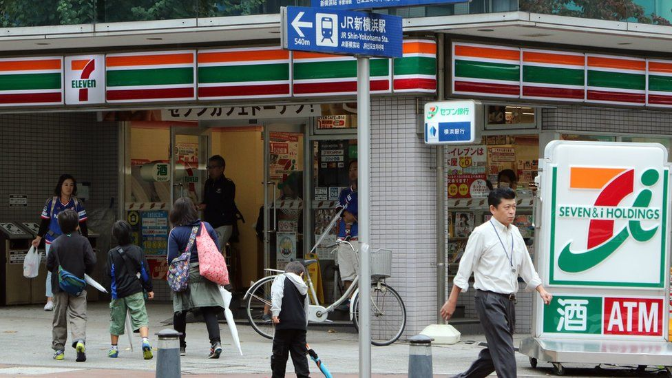 Exterior of a Japanese 7-Eleven, with three adults and three children walking in front of it