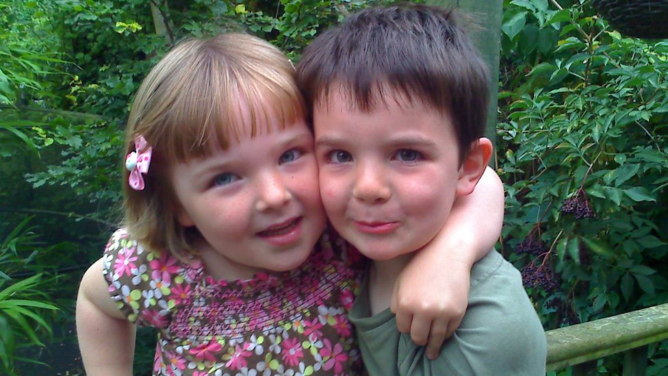 A younger Niamh with her twin brother