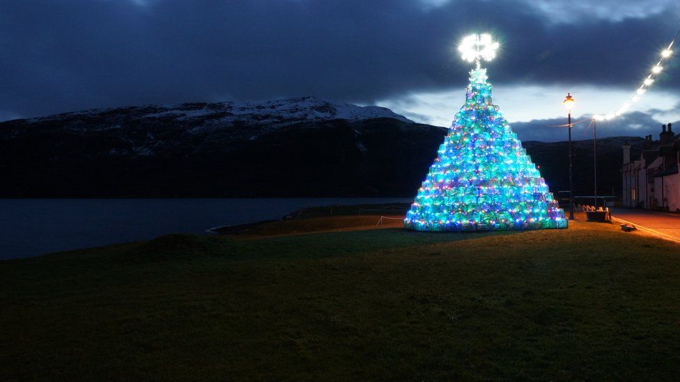 Ullapool's creel Christmas tree