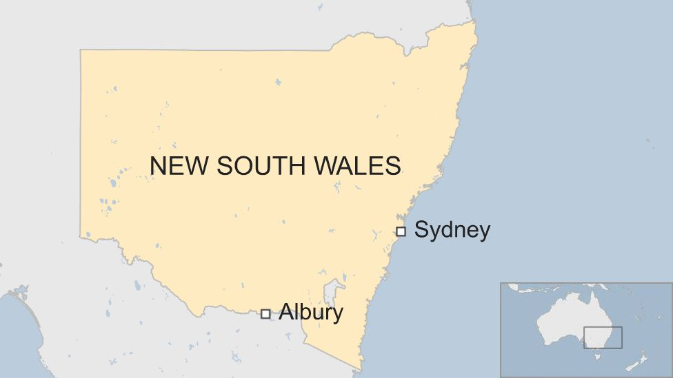 A map of Australia showing Sydney and Albury