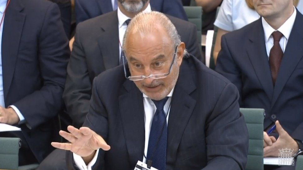 Philip Green giving evidence to a select committee