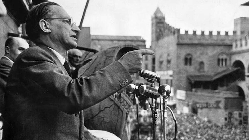 Italian Prime Minister Alcide De Gasperi in Bologna, 1951