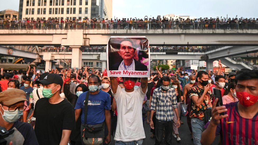 Demonstrators protest against the military coup and demand the release of elected leader Aung San Suu Kyi, in Yangon, Myanmar