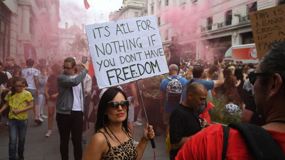 Anti-Vaccine and anti-lockdown protestors march through central London