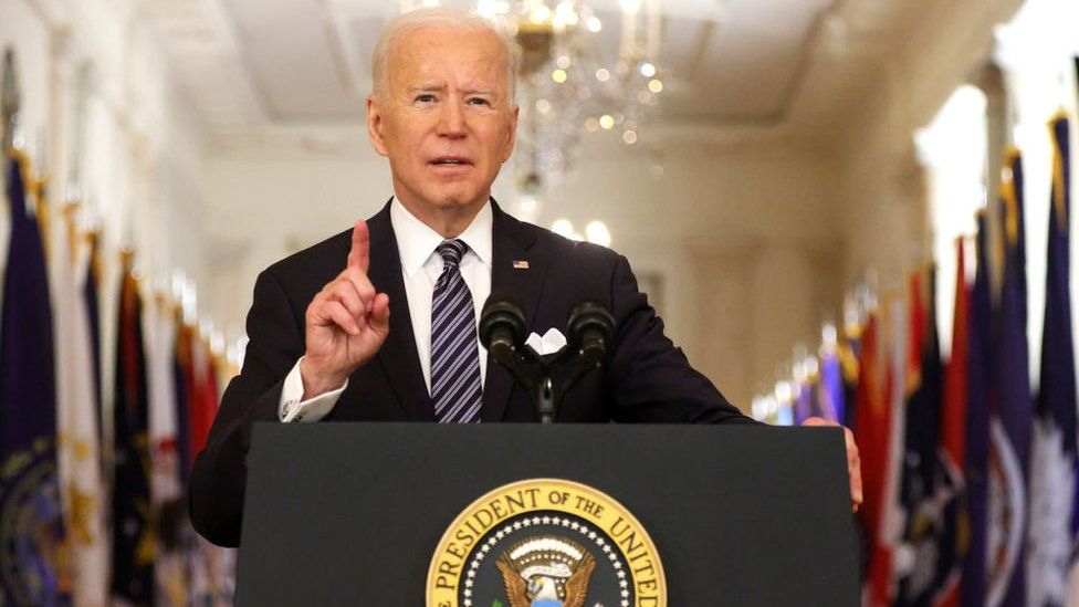 Joe Biden delivers a televised speech at the White House