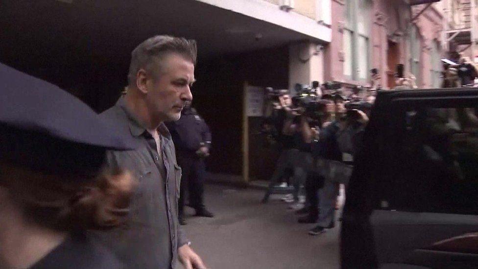 Alec Baldwin leaves police station in New York