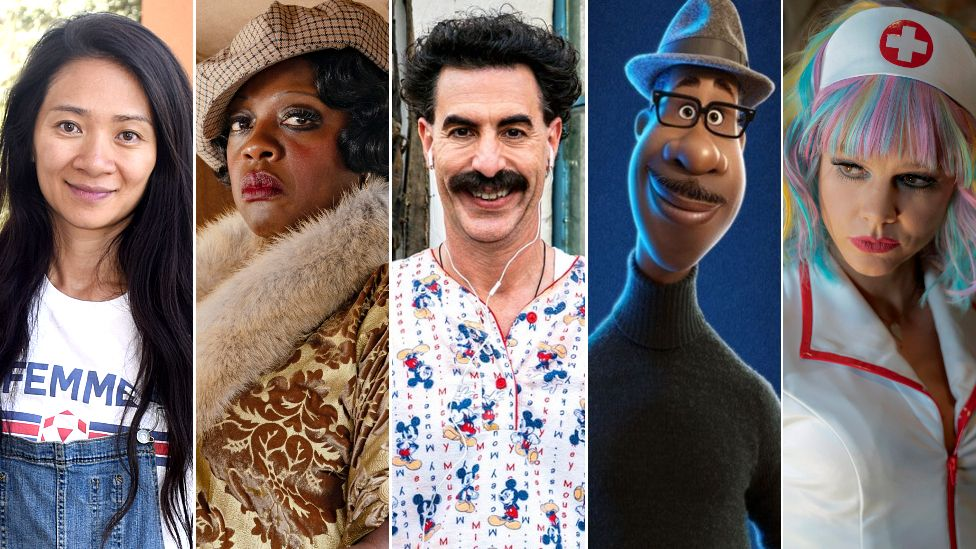 Chloe Zhao, Viola Davis as Ma Rainey, Sacha Baron Cohen as Borat, Joe Gardner voiced by Jamie Foxx, and Carey Mulligan as Cassie Thomas
