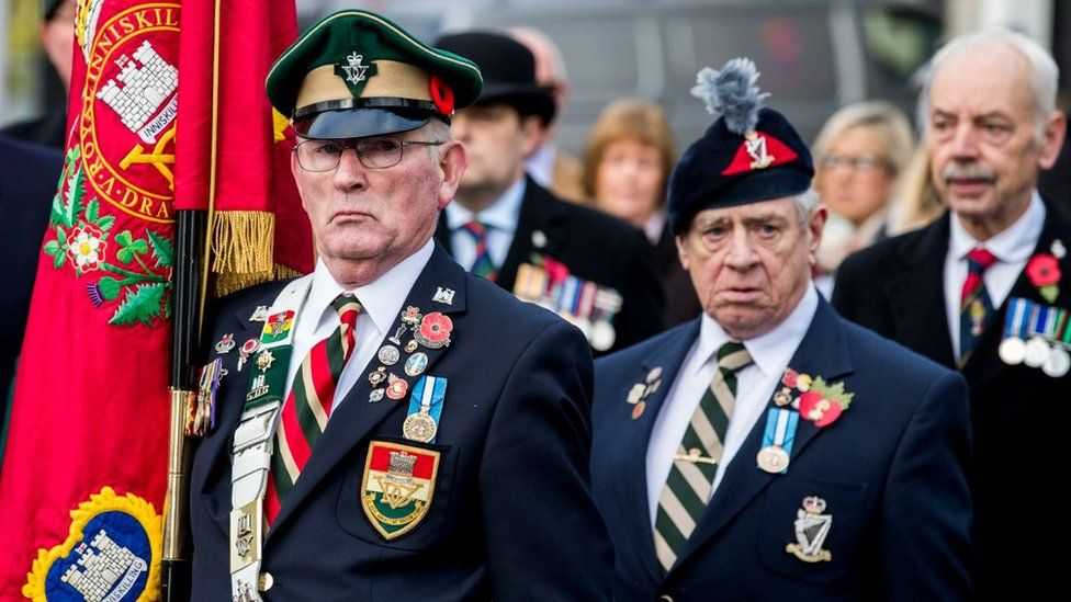 Veterans taking part in a Remembrance Sunday event at the Enniskillen Cenotaph, on the 100th anniversary of the signing of the Armistice which marked the end of World War One.
