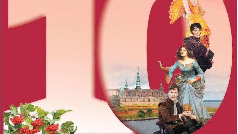 Benedict Cumberbatch as Hamlet superimposed onto a book's photograph