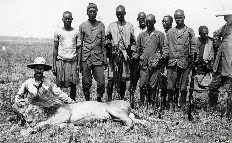 Lion hunters circa 1890
