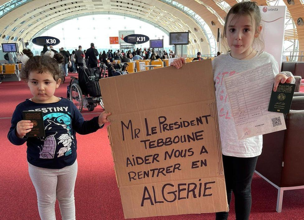 Two children in the group appealed to the Algerian president to help them go home