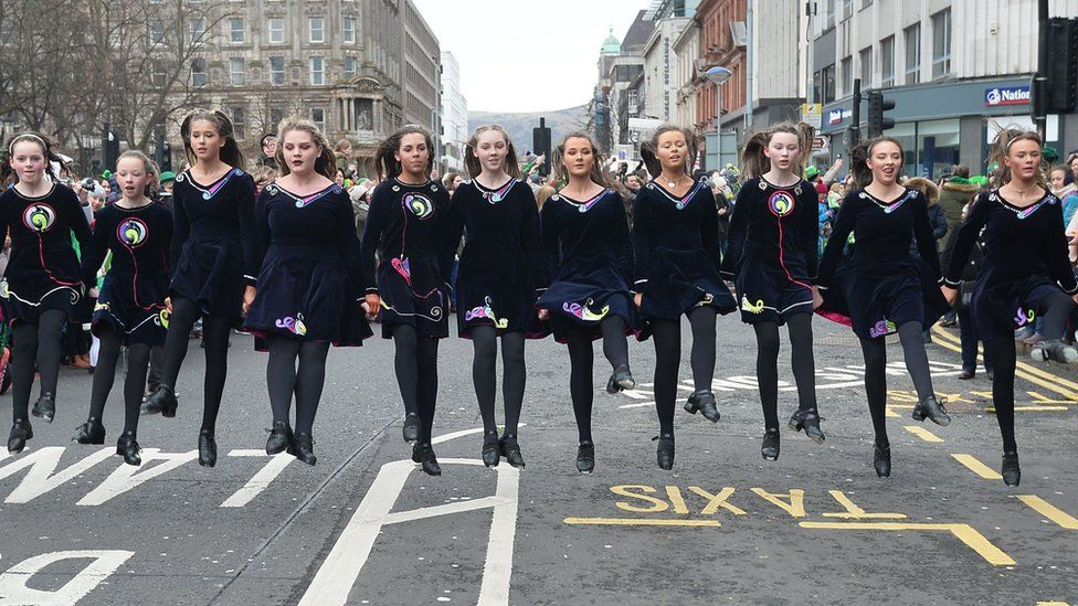 Dancers during the 2018 St Patrick's parade in Belfast