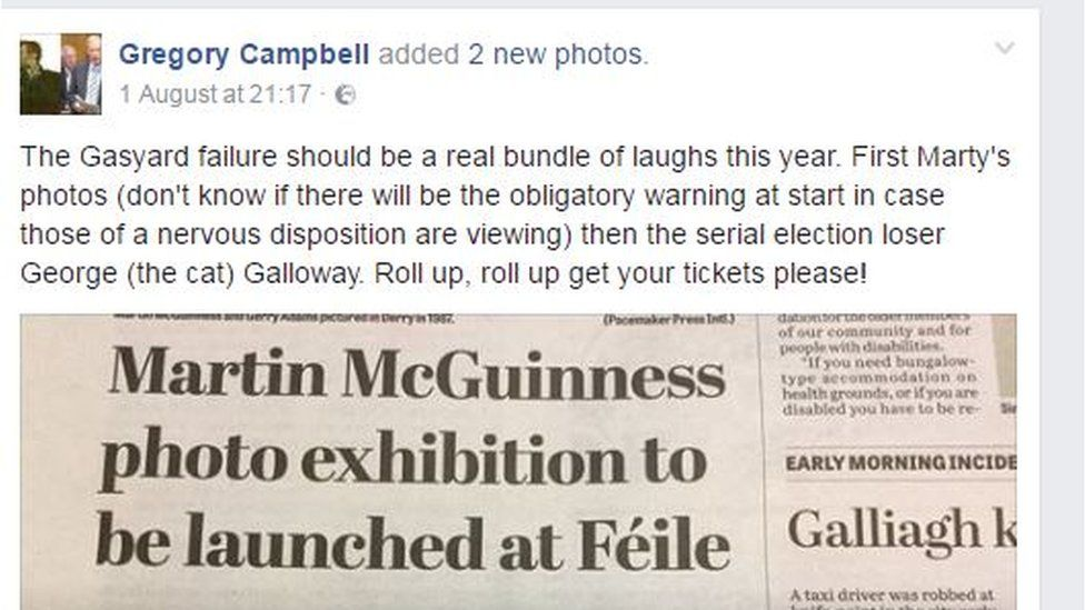 The post that appeared on Gregory Campbell's Facebook page