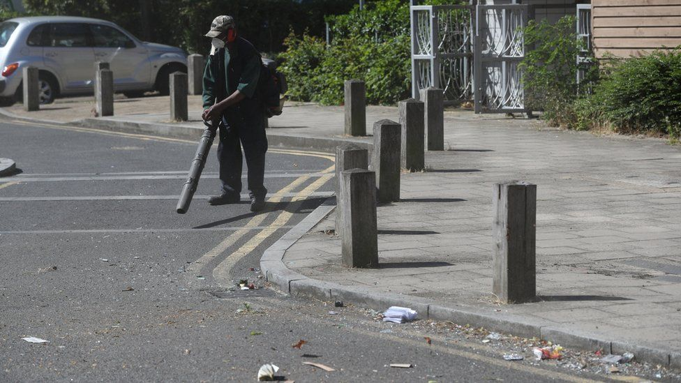 Volunteers clean up in Overton Road, Angell Town, Brixton, south London,