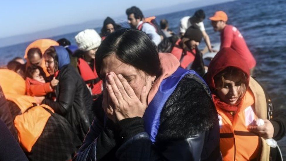 Migrants arrive on a boat to Greece's island of Lesbos. Photo: 13 November 2015