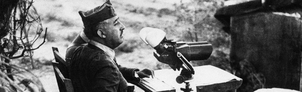 Gen Franco on the frontline during the Spanish Civil War
