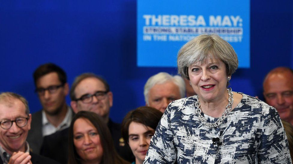 Theresa May speaks during a Conservative Party general election campaign visit