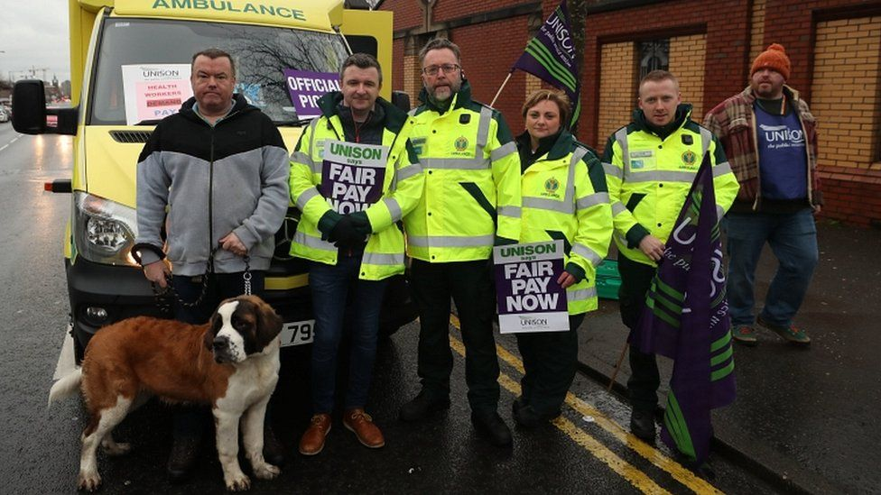 Paramedics join the picket line outside the Royal Hospital in Belfast