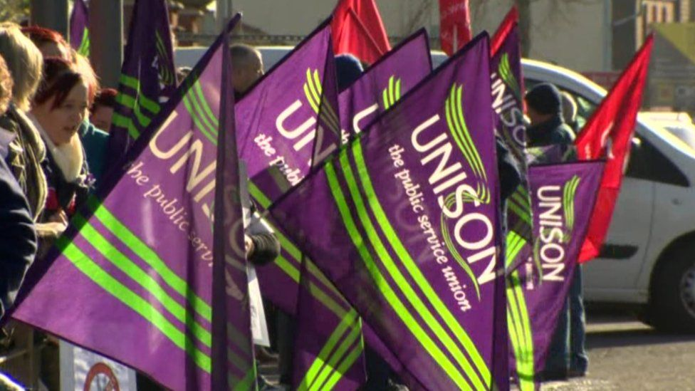 Unison flags at a protest