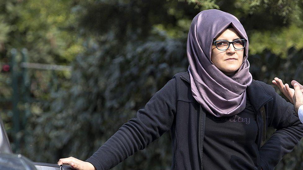 "Missing Saudi journalist Jamal Khashoggi""s Turkish fiancee Hatice waits in front of the Saudi Arabian consulate in Istanbul, Turkey, 03 October 2018."